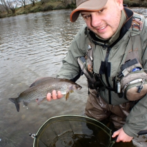 Terry with his first grayling of 2013