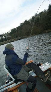 Kieron Jenkins Playing a Fish Blagdon