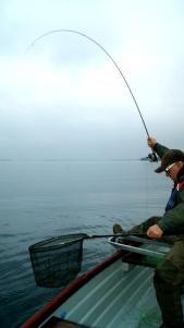 Terry Bromwell Playing a Draycote Trout